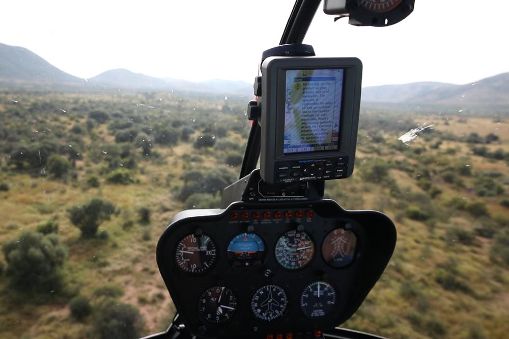 Helicopter flying over the Pilanesberg.