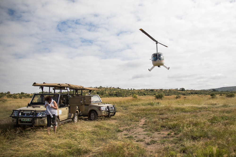 Helicopter taking off in the bush.